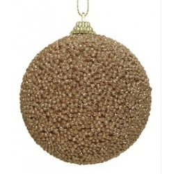 1 kerstballe met parels en glitter