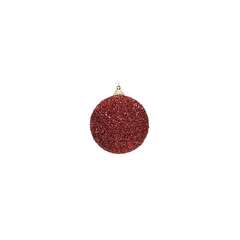 12 Boules de Noel à Pailletes Rouge