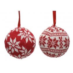 12 Boule de Noel Folklore Blanc & Rouge