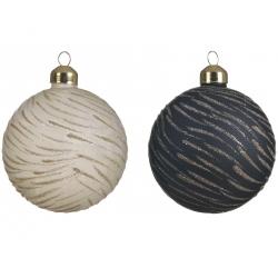 6 Boules de Noël Blanc-Laine & Noir Feuilletées