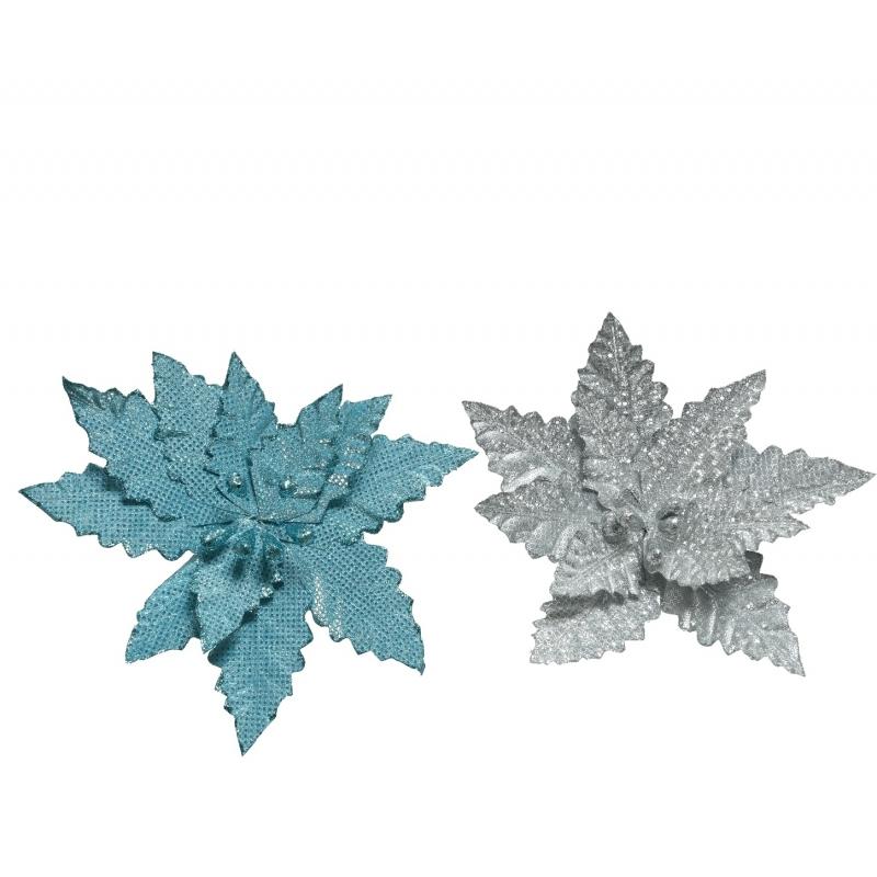 2 Roses de Noël Bleue & Argent Pailletées