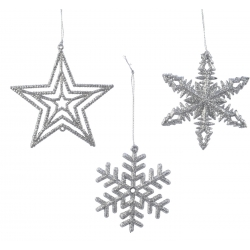 Hanging assortment (snowflake-star-snowflake) silver