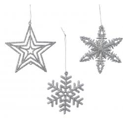 Assortiment kersthangers (vlokje-ster-vlokje) zilver