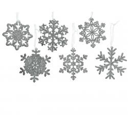 6 sneeuwvlokjes met glitter zilver