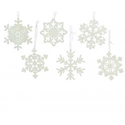 6 white glittery snowflakes