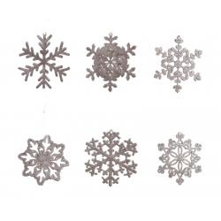 9 sneeuwvlokjes met glitter poederroos
