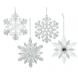4 silver and transparent glittery snowflakes