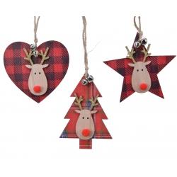 Kerstboom, hart en ster in hout
