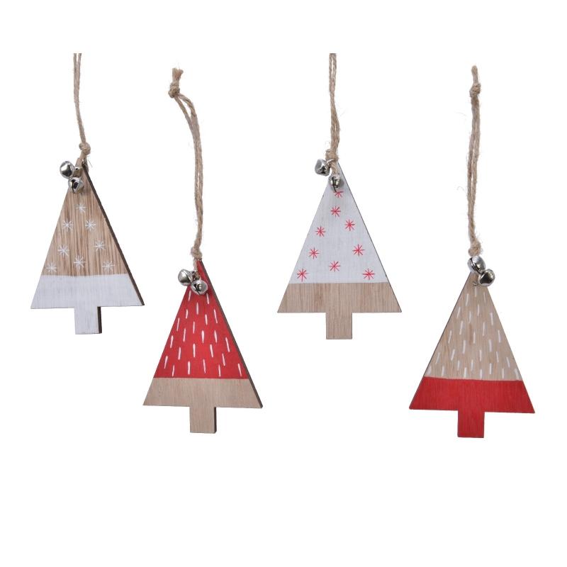 4 Arbre de Noël en Bois Rouge et Blanc