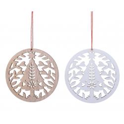 2 Arbre de Noël en Bois Blond et Blanc
