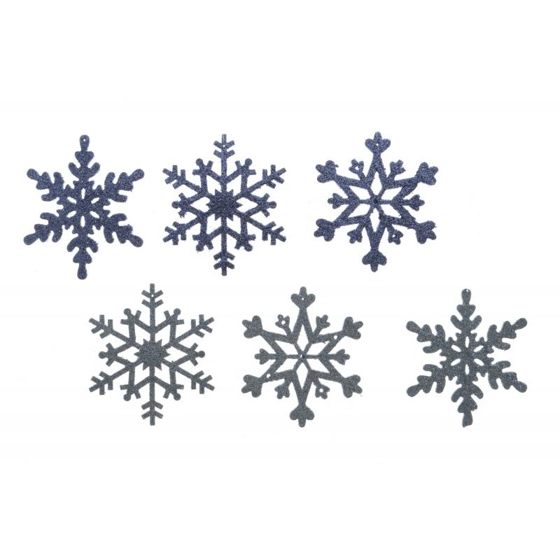 6 Flocons de Neige à Paillettes Argenté