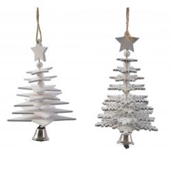 2 Arbres de Noël Etoiles & Flocons en Bois Blanc