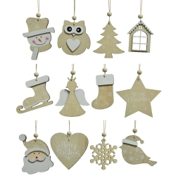 12 Christmas hanging decorations in natural wood