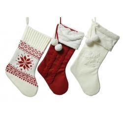 3 gebreide kerstsokken