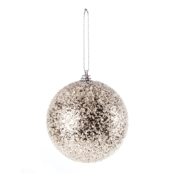 Champagne Christmas bauble with glitter