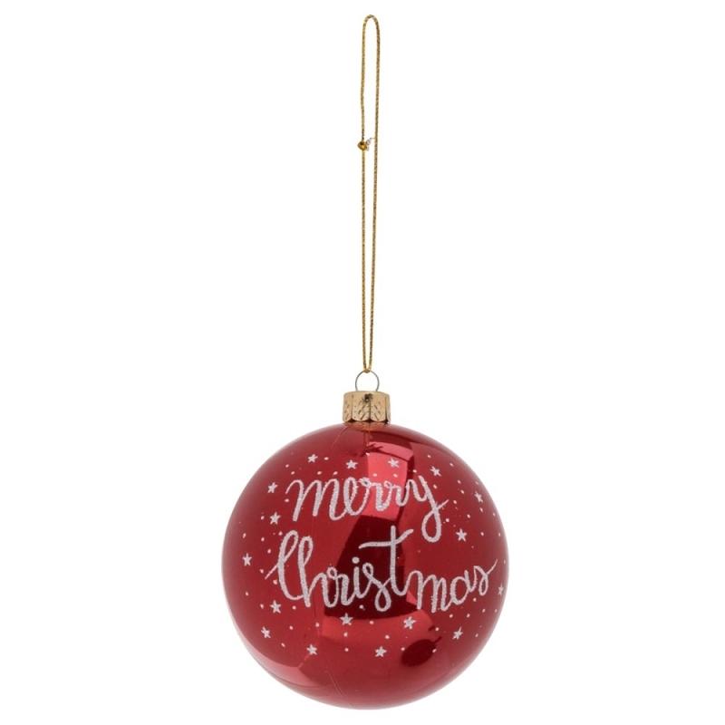 Boule de Noel Merry Xmas Rouge