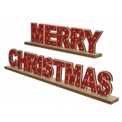 Merry Xmas Red Wooden Decoration