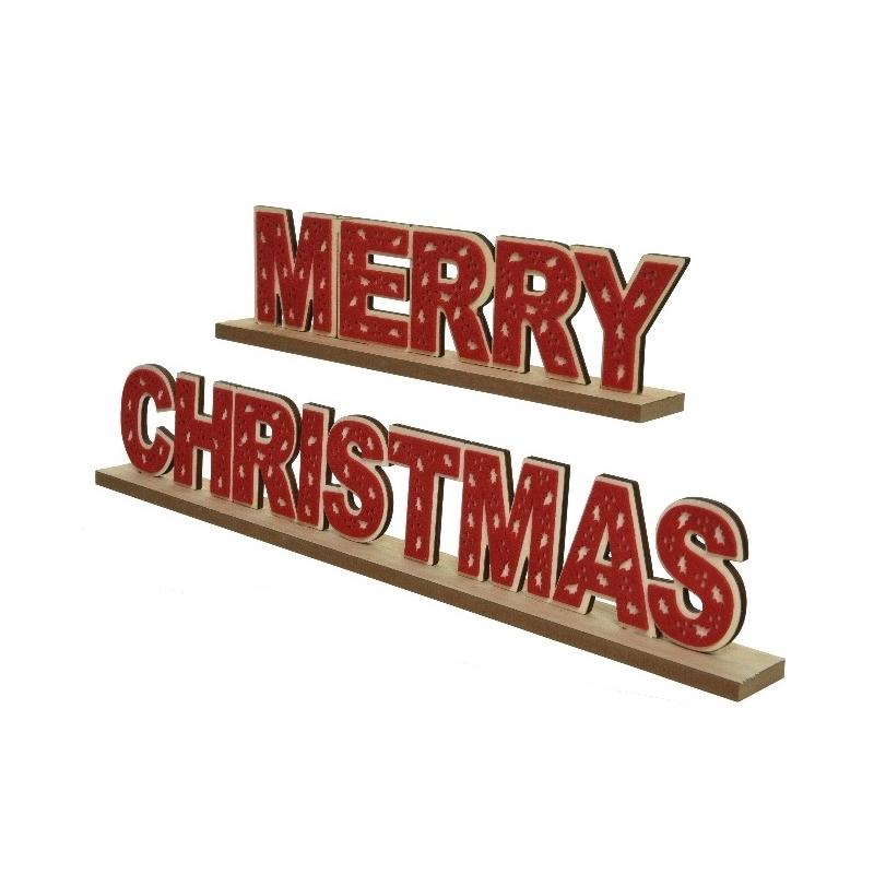 2 Décoration Merry Xmas Rouge & Vert en Bois