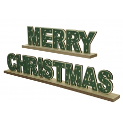 Green wooden Merry Xmas decoration