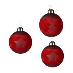 6 kerstballen boom en ster rood en witte
