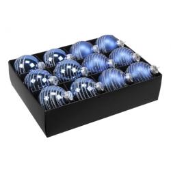 2 boules de noël Bleue lignée