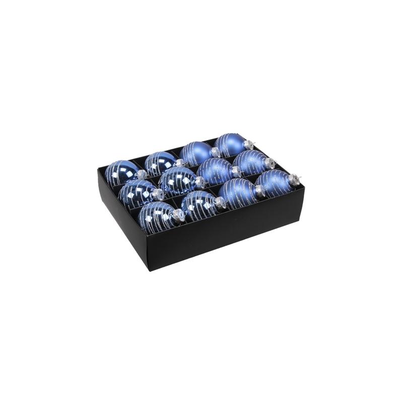 12 boules de noël Bleue lignée