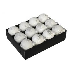 3 kerstballen wit met ster