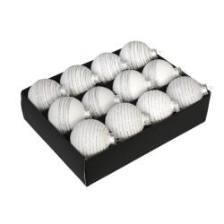 3 boules de noël blanche strillées