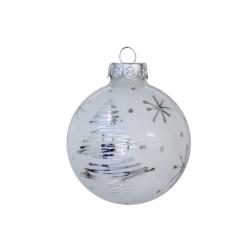 Kerstbal deco wit en zilver
