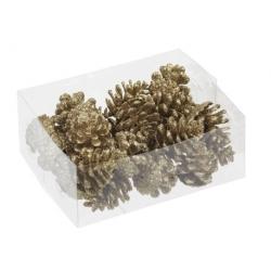 24 gold pine cones