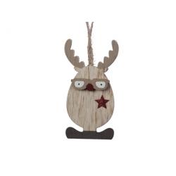 Suspension hiboux-renne en bois