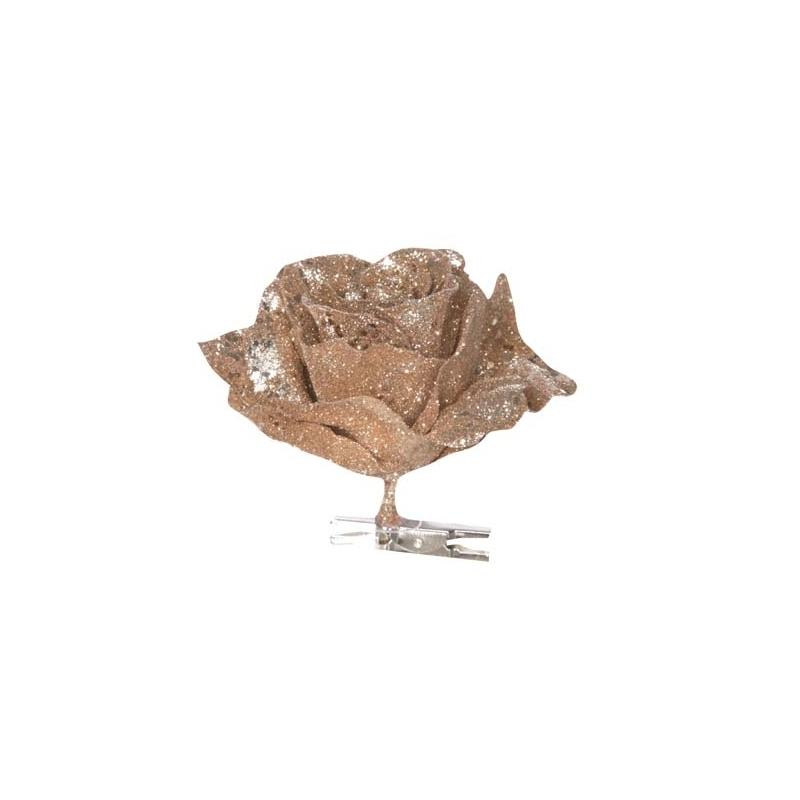 Rose de Noël artificielle brune à paillette sur clip