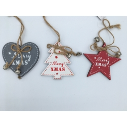 3 hanging star, heart and tree