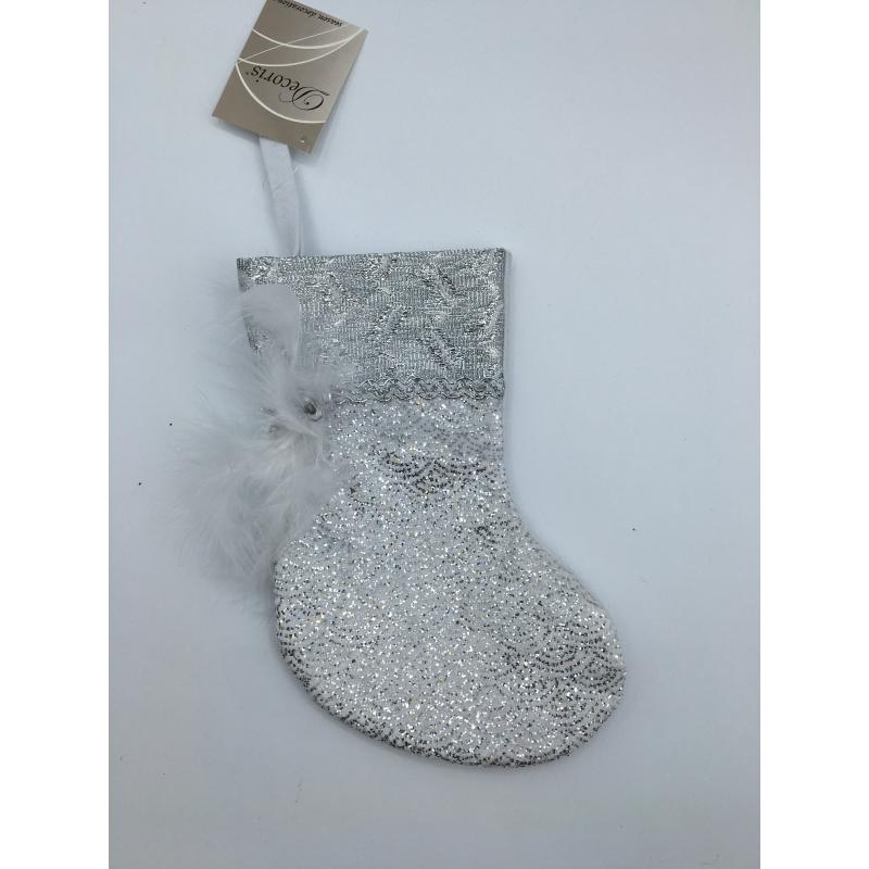 Chaussette de Noël grise à plume OLI