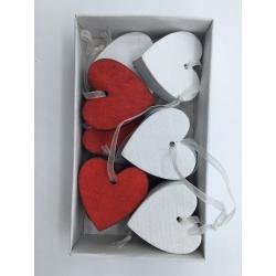10 kersthangers hart rood en wit