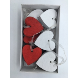 10 hanging red and white hearts