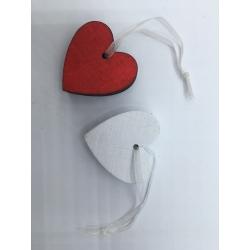 Lot de 10 suspensions coeur rouge/blanc OLI