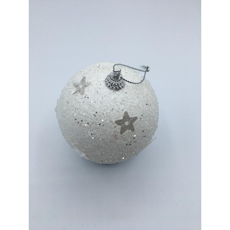 Lot de 3 boules blanches à paillette et étoile OLi