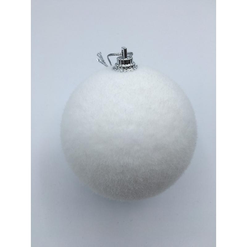 Lot de 4 boules 8cm effet neige OLI