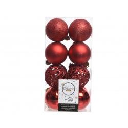 16 boules de noël rouge 6cm