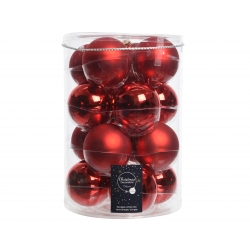 16 red christmas baubles gloss and matt