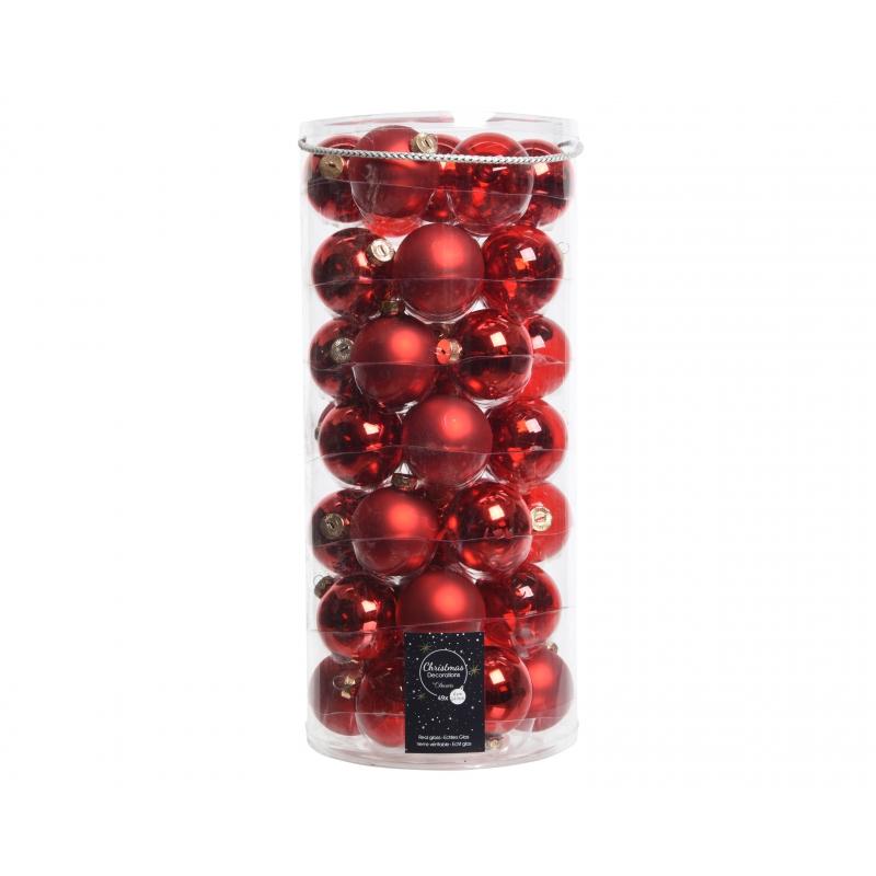 49 boules de noël rouge assorties