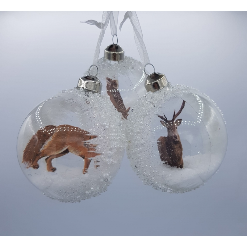 3 wintery white Christmas baubles