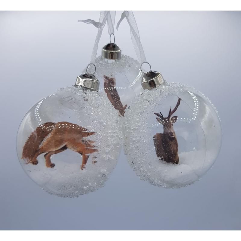 3 kerstballen winter wit