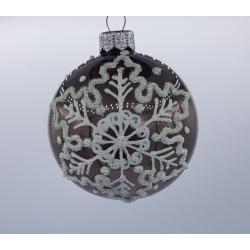 6 boules de Noël argent avec flocons