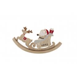 Père Noël avec un cerf en bois