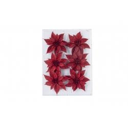 Set de 6 Roses de Noël rouge