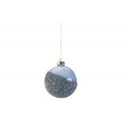 Kerstbal glas met glitter