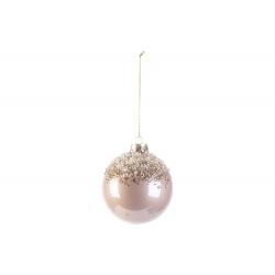 Kerstbal roze glas met glitter