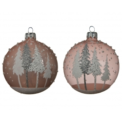 Pink glass baubles with...
